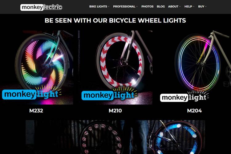 自転車のスポーク部分をライトアートに