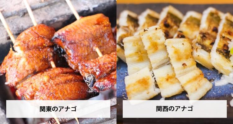 アナゴの食べ方の違い