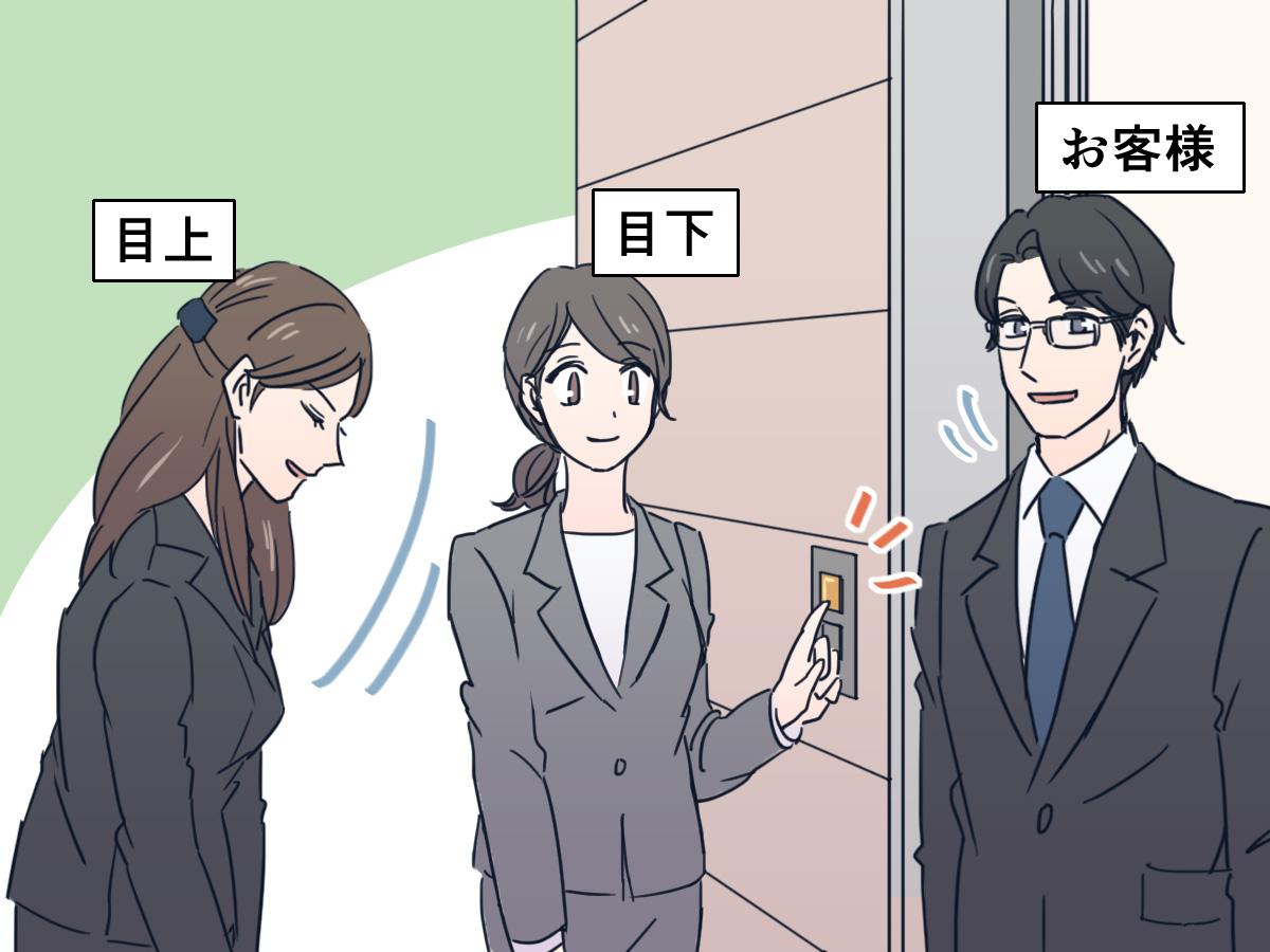 2人以上いる場合には目下が先にエレベーターのボタンを押しにいく