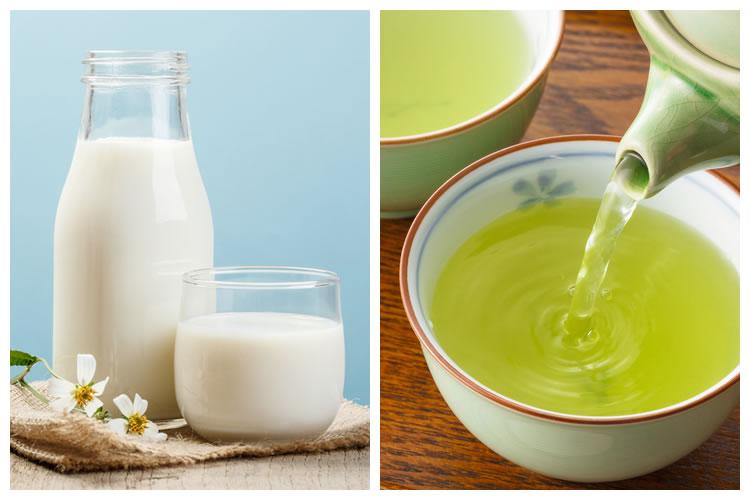 牛乳+緑茶