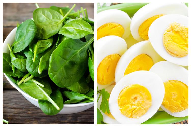 ほうれん草+ゆで卵