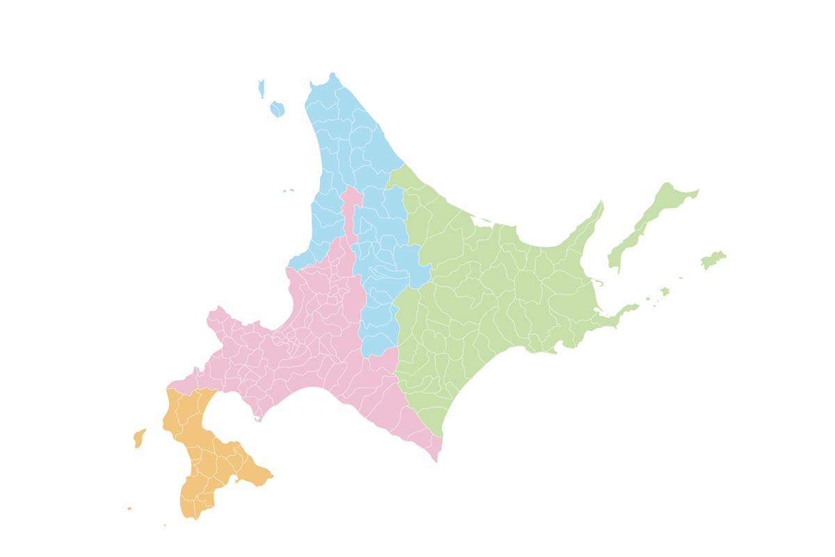 北海道の4つの地方(道央・道南・道北・道東)